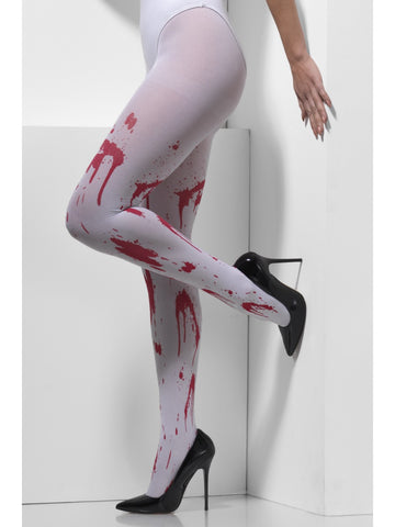 Tights - Opaque - White - Blood Stained