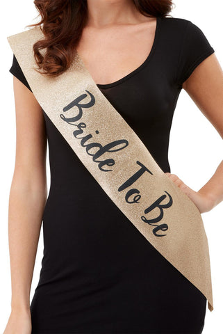 Sash - Bride To Be - Gold Glitter