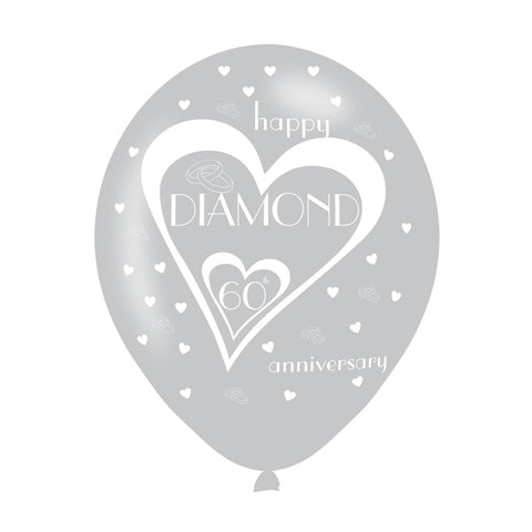 Latex Balloons - Anniversary - 60th Diamond
