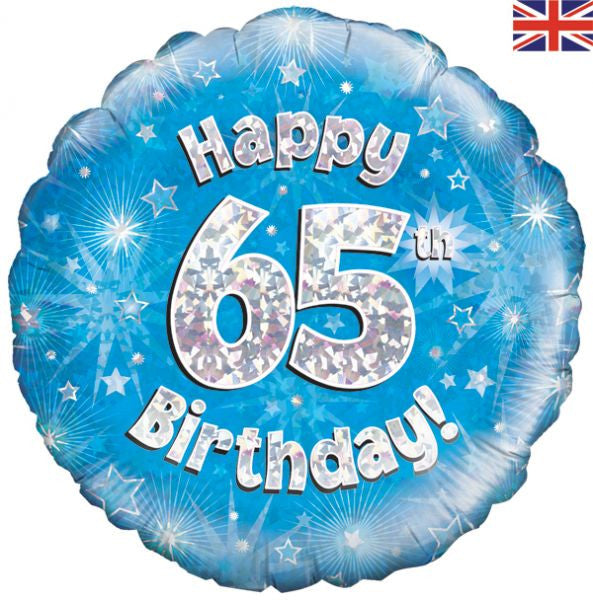 "Foil balloon - 18"" - Happy 65th Birthday - Blue"