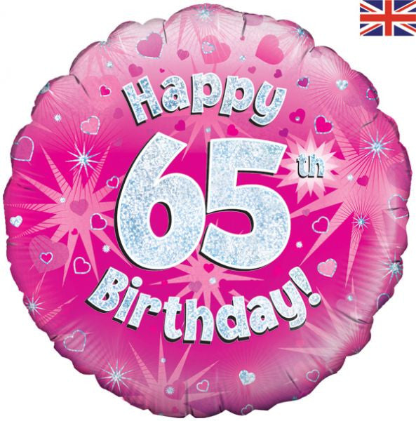 "Foil Balloon - 18"" - Happy 65th Birthday - Pink"