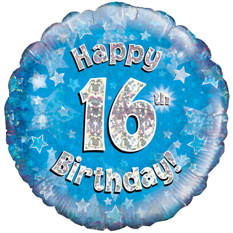 "Foil Balloon - 18"" - Happy 16th Birthday - Blue"