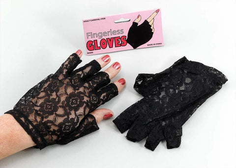Gloves  Fingerless - Lace - Black/White/Red