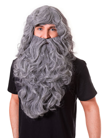 Wizard Wig & Beard Set - Curly