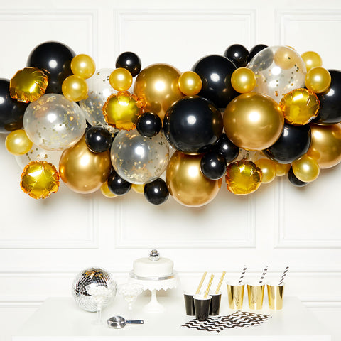 DIY Garland Kit - Latex Balloons - Black/Gold/Silver