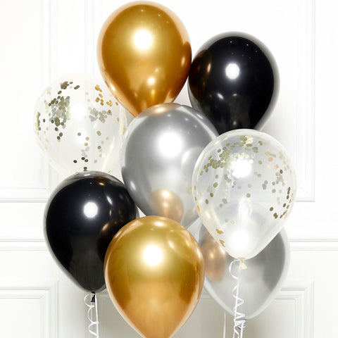 DIY Kit - Latex Balloons - Black/Gold/Silver