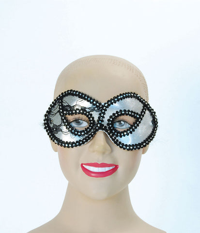 Domino Eyemask - Silver Metallic Lace