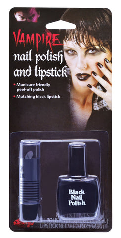 Lipstick & Nail Varnish Set - Black