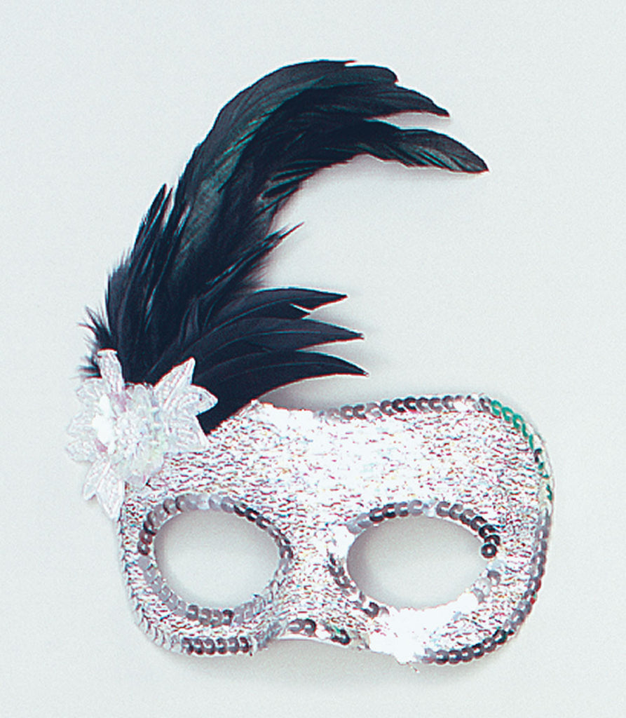Eyemask with side feathers - Silver