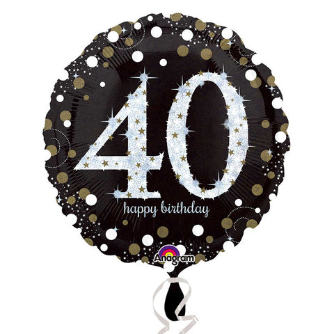 "Foil Balloon - 18"" - Happy 40th Birthday - Black/Gold/Silver"