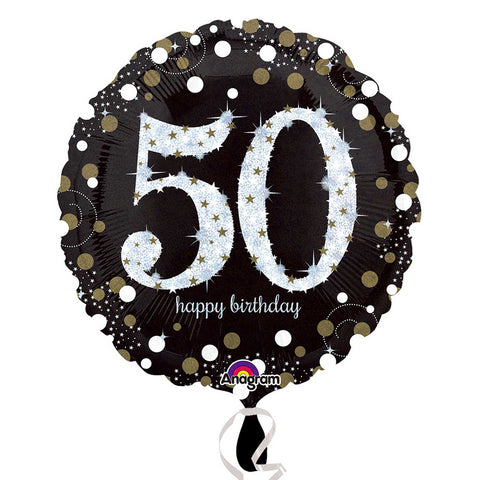 "Foil balloon - 18"" - Happy 50th Birthday - Black/Gold/Silver"