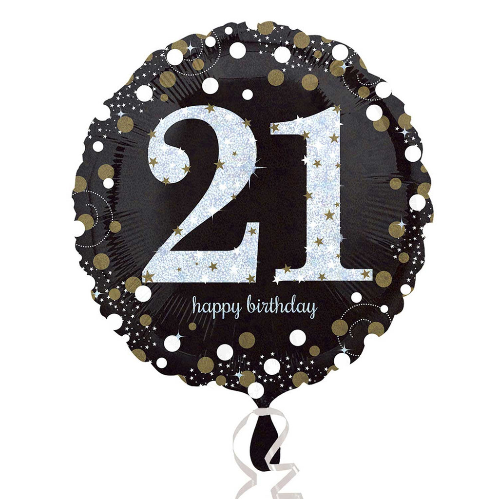"Foil Balloon - 18"" - Happy 21st Birthday - Black/Gold/Silver"