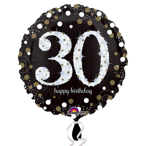 "Foil Balloon - 18"" - Happy 30th Birthday - Black/Gold/Silver"