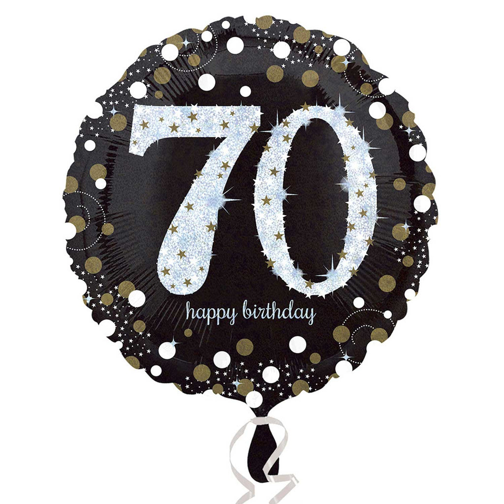 "Foil Balloon - 18"" - Happy 70th Birthday - Black/Gold/Silver"