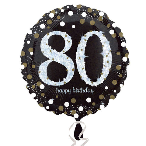 "Foil Balloon - 18"" - Happy 80th Birthday - Black/Gold/Silver"