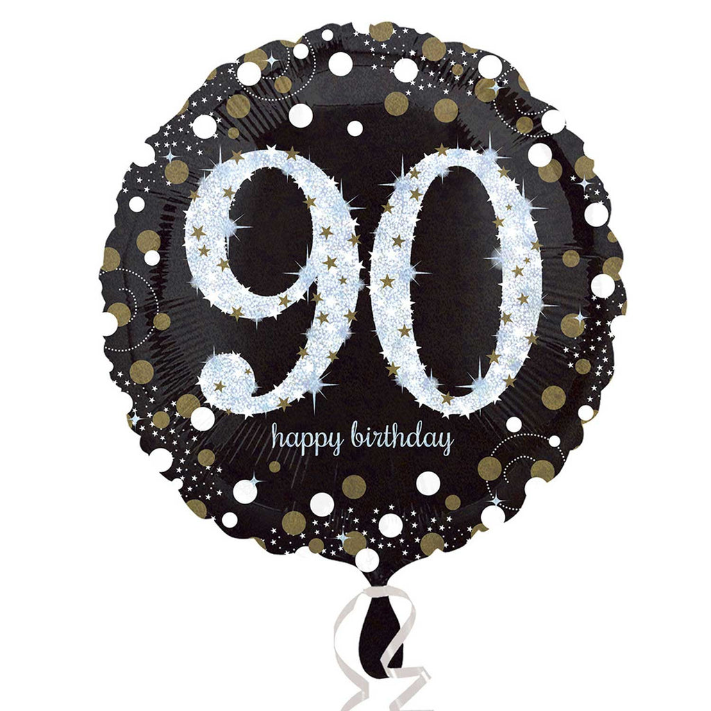 "Foil Balloon - 18"" - Happy 90th Birthday - Black/Gold/Silver"