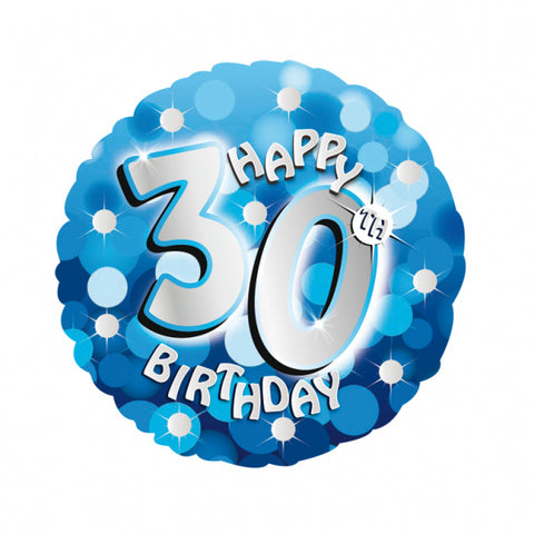 "Foil Balloon - 18"" - Happy 30th Birthday - Blue"