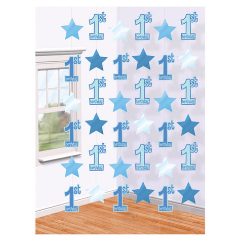 Hanging Decorations - 1st Birthday - Blue