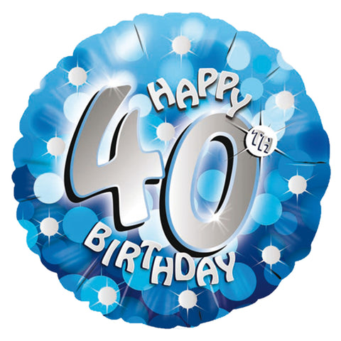 "Foil Balloon - 18"" - Happy 40th Birthday - Blue"