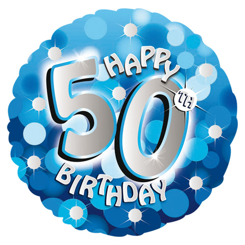 "Foil Balloon - 18"" - Happy 50th Birthday - Blue"