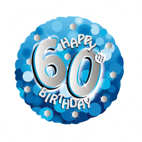 "Foil Balloon - 18"" - Happy 60th Birthday - Blue"