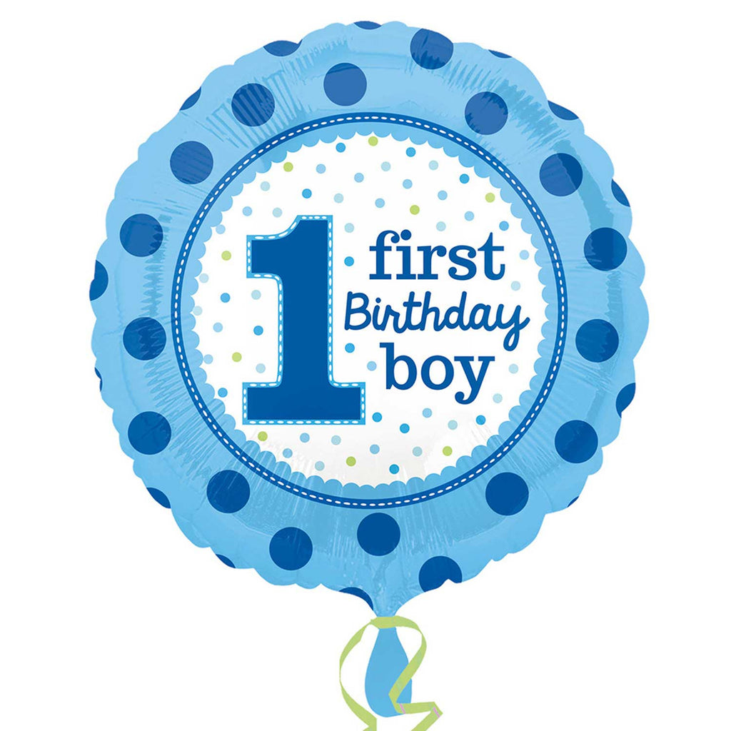 "Foil Balloon - 17"" - Age 1 - Blue - Birthday Boy"