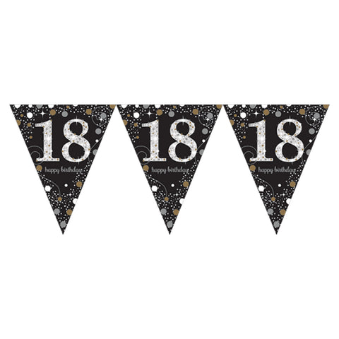Pennant Bunting - Ages 18 -100 - Gold/Silver/Black