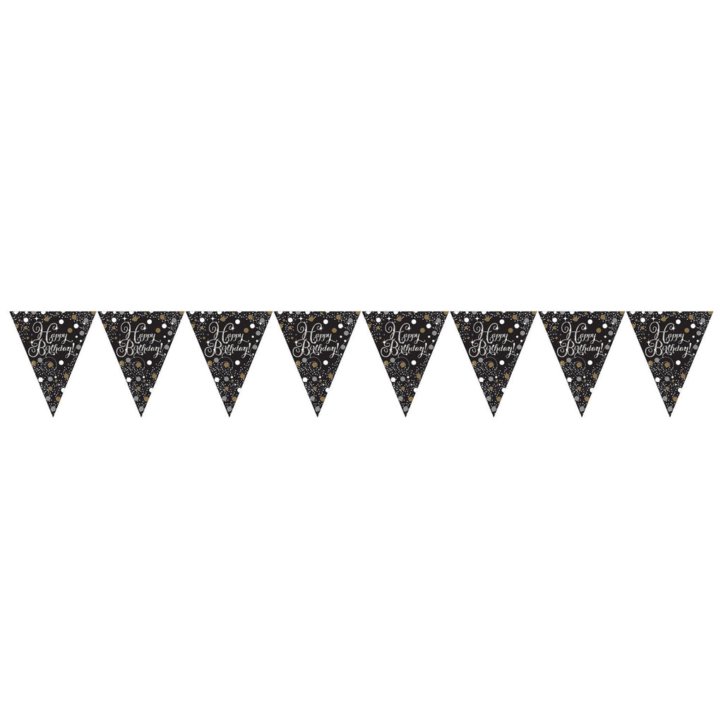 Pennant Bunting - Birthday- Gold/Silver/Black