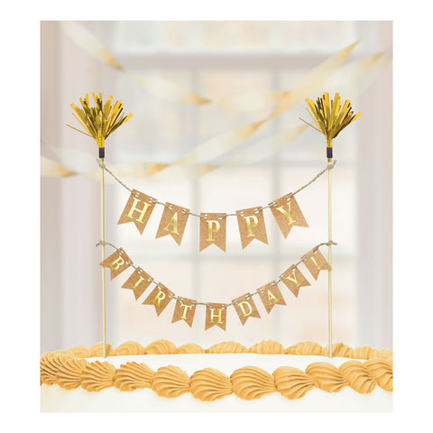 Cake Topper - Birthday - Bunting - Gold