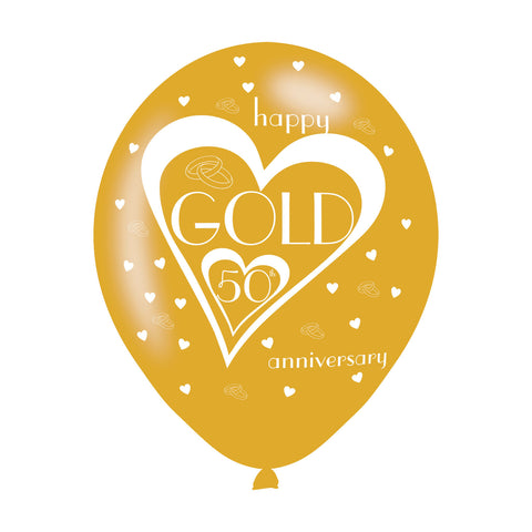 Latex Balloons - Anniversary - 50th Golden