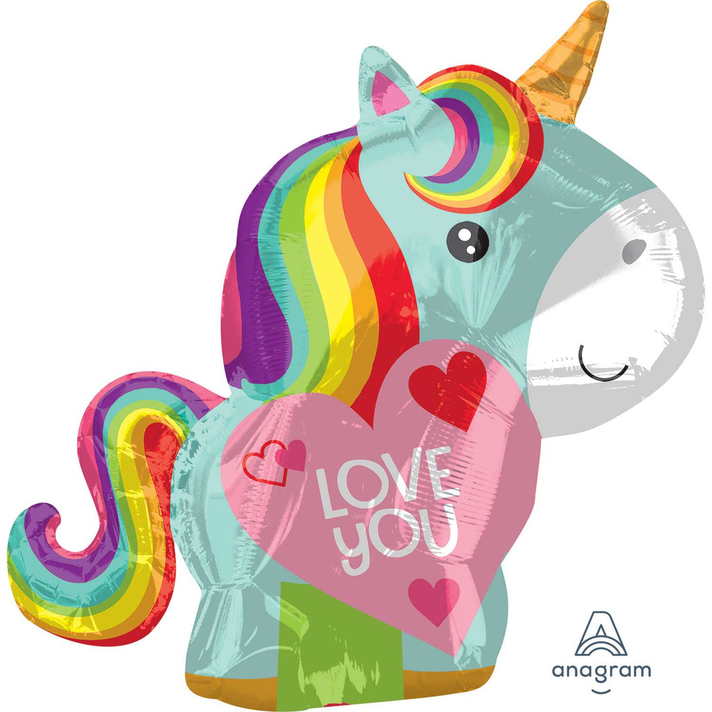 Foil Balloon - Junior Shape - Unicorn - Love You