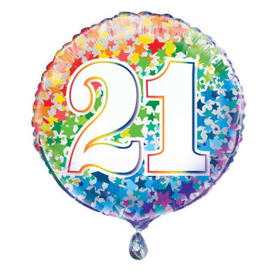 "Foil Balloon - 18"" - 21 - Multi-Coloured"