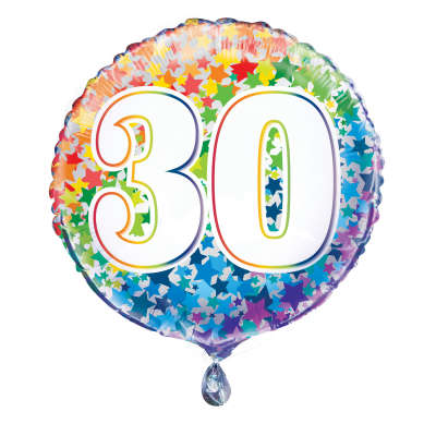 "Foil Balloon - 18"" - 30 - Multi-Coloured"