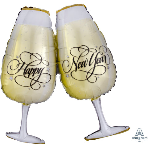 Foil Balloon - Supershape - Glasses New Year