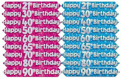 Banner - Birthday - Ages 16 - 80 - Blue or Pink