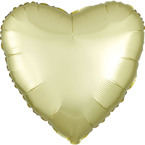Foil Balloon - Solid Colour - Heart - Satin Luxe - Pastel Yellow