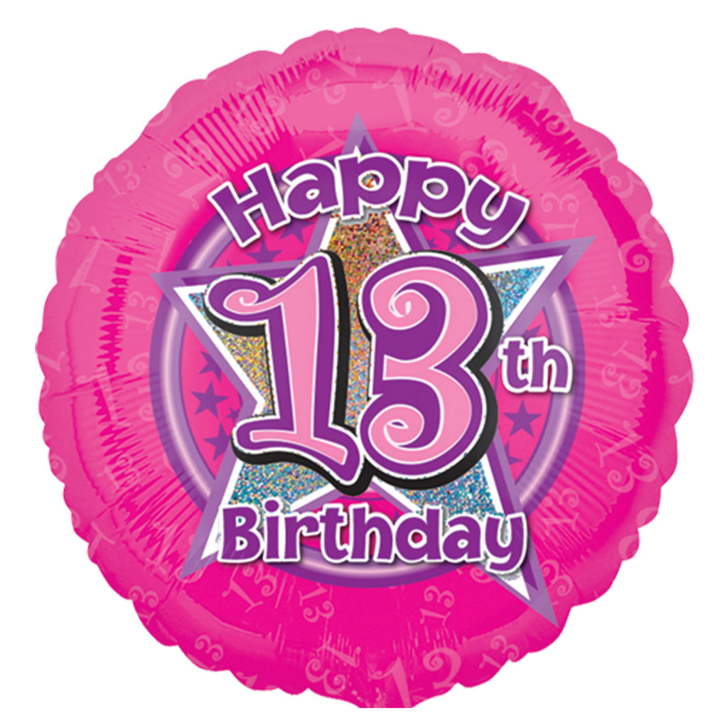 "Foil Balloon - 18"" - Age 13 - Pink"