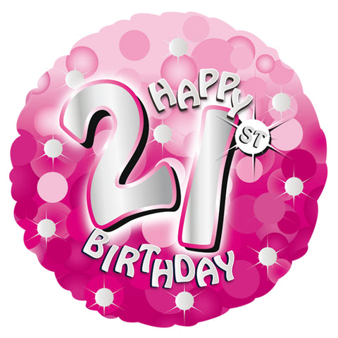 "Foil Balloon - 18"" - Happy 21st Birthday - Pink"