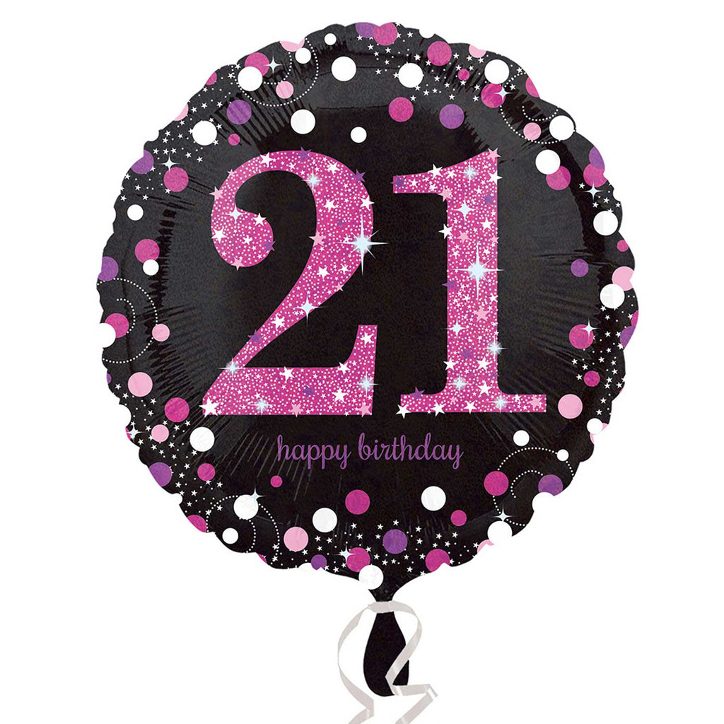 "Foil Balloon - 18"" - Happy 21st Birthday - Black/Pink"