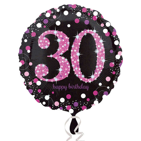 "Foil Balloon - 18"" - Happy 30th Birthday - Black/Pink"