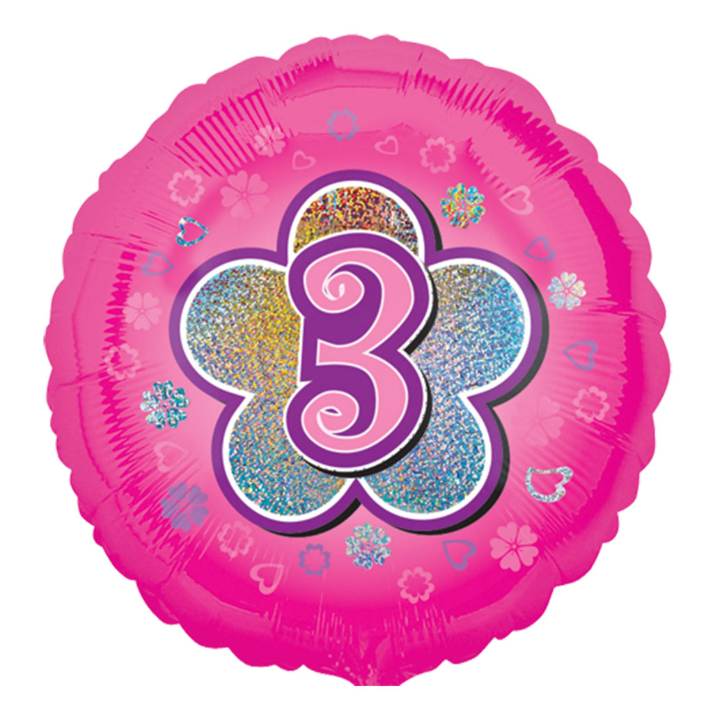 "Foil Balloon - 18"" - Age 3 - Pink"