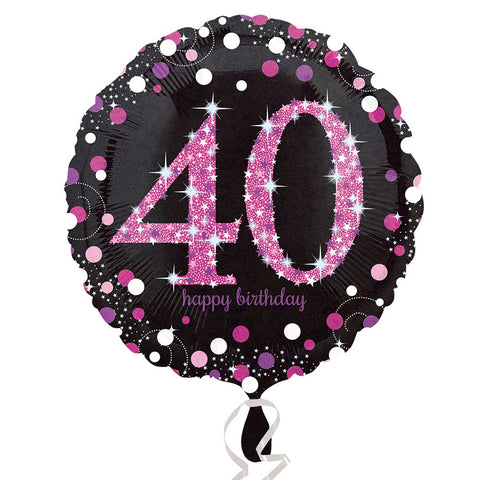 "Foil Balloon - 18"" - Happy 40th Birthday - Black/Pink"