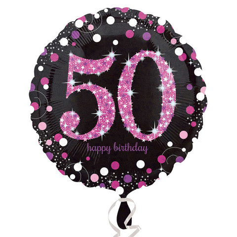 "Foil Balloon - 18"" - Happy 50th Birthday - Black/Pink"