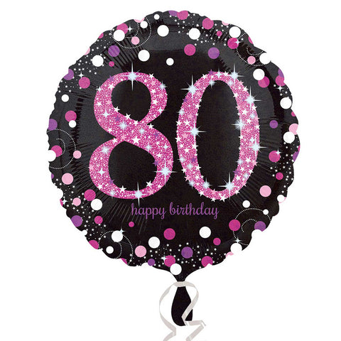 "Foil Balloon - 18"" - Happy 80th Birthday - Black/Pink"