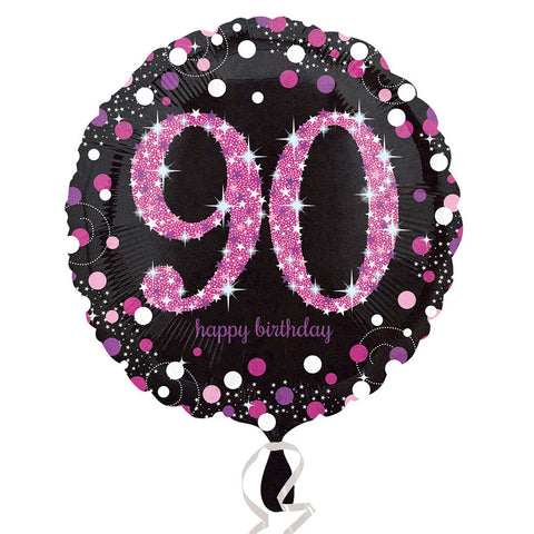 "Foil Balloon - 18"" - Happy 90th Birthday - Black/Pink"