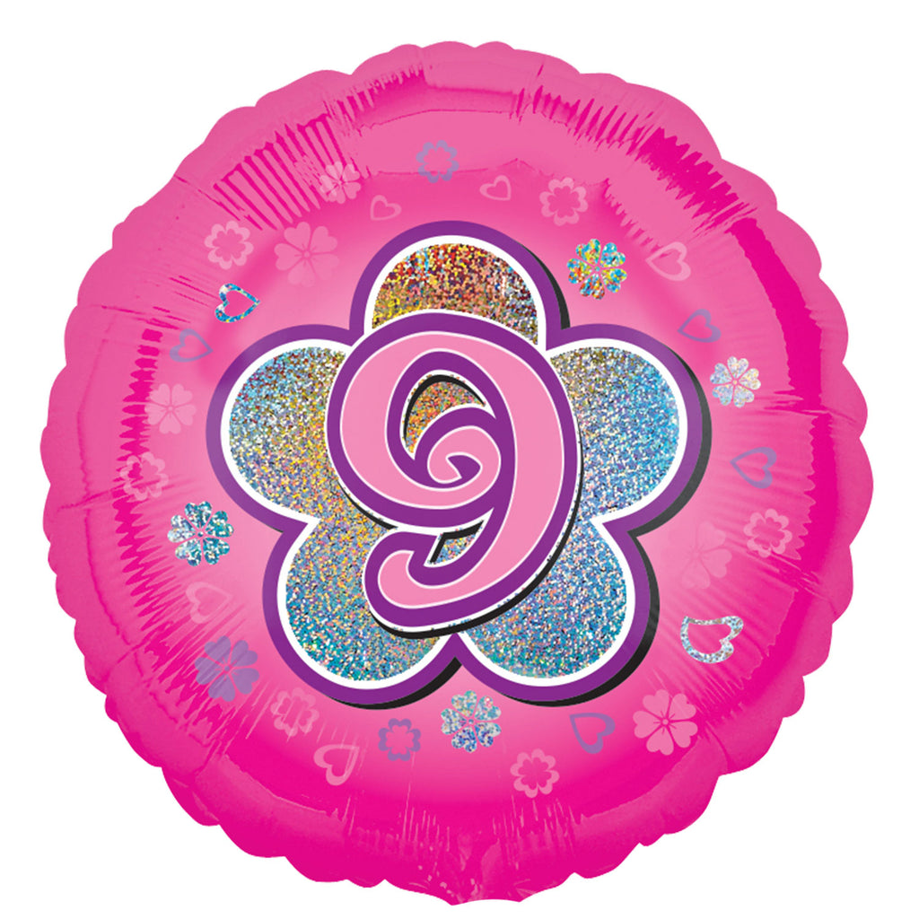"Foil Balloon - 18"" - Age 9 - Pink"