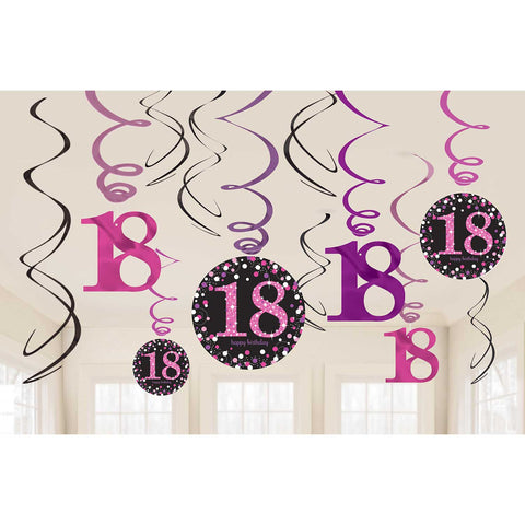 Swirl Decorations - Ages 18 - 100 - Pink/Purple/Black