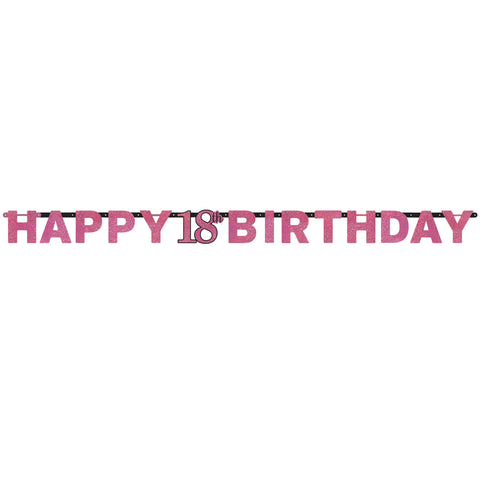 Banner - Birthday - Black/Pink - Ages 18 - 100