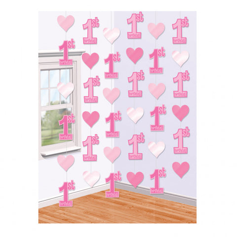 Hanging Decorations - 1st Birthday - Pink