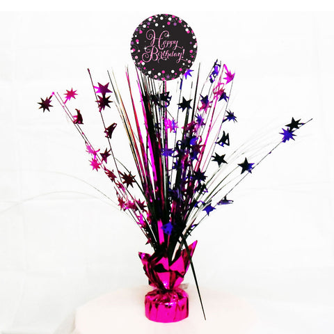 Centrepiece - Birthday - Pink/Purple/Black
